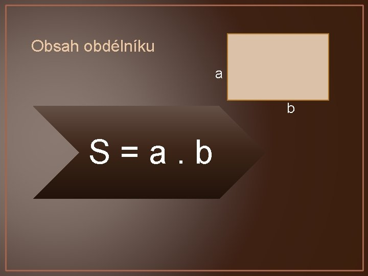 Obsah obdélníku a b S=a. b