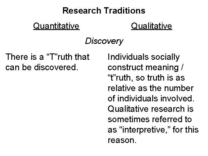 "Research Traditions Quantitative Qualitative Discovery There is a ""T""ruth that can be discovered. Individuals"