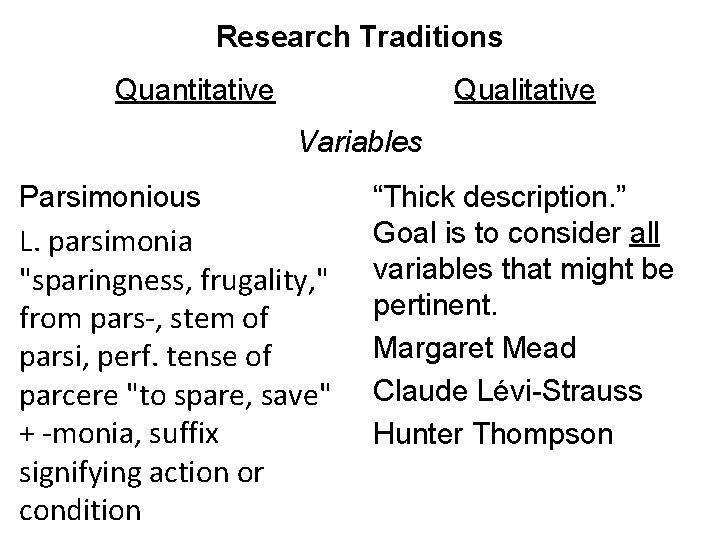 Research Traditions Quantitative Qualitative Variables Parsimonious L. parsimonia