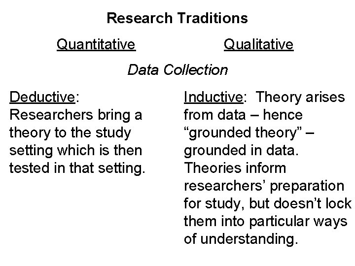 Research Traditions Quantitative Qualitative Data Collection Deductive: Researchers bring a theory to the study