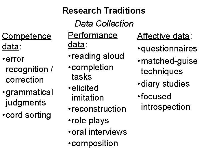 Competence data: • error recognition / correction • grammatical judgments • cord sorting Research