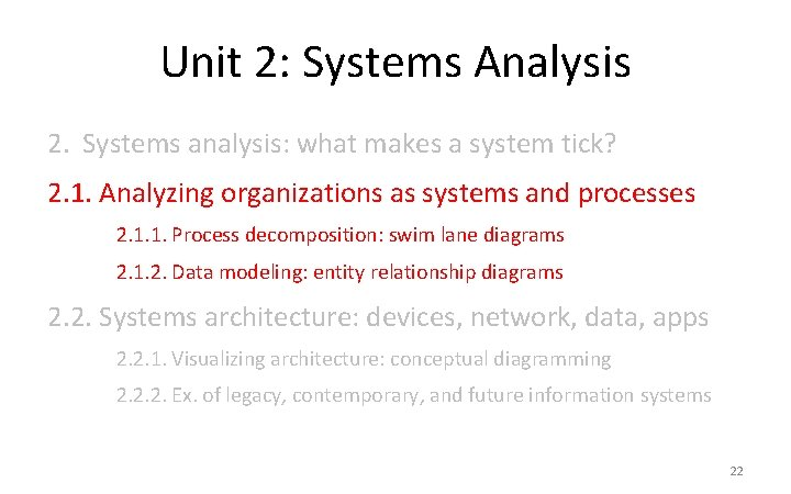 Unit 2: Systems Analysis 2. Systems analysis: what makes a system tick? 2. 1.