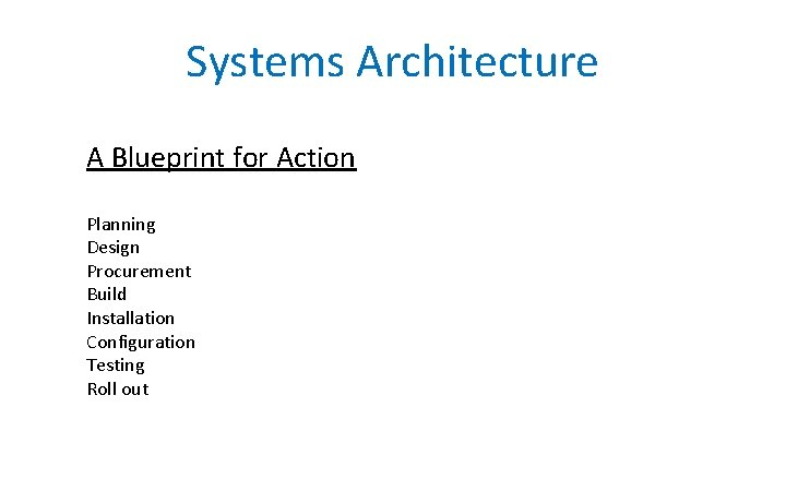 Systems Architecture A Blueprint for Action Planning Design Procurement Build Installation Configuration Testing Roll