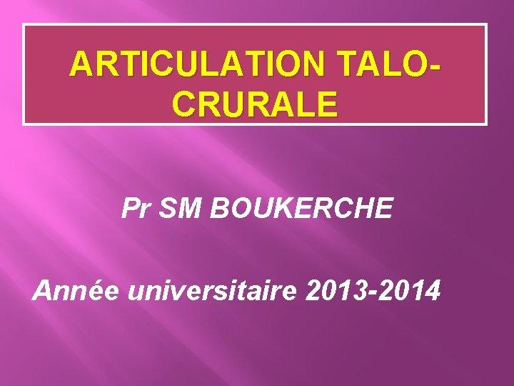 ARTICULATION TALOCRURALE Pr SM BOUKERCHE Année universitaire 2013 -2014