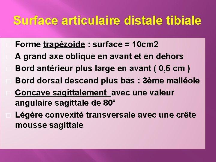 Surface articulaire distale tibiale � � � Forme trapézoide : surface = 10 cm