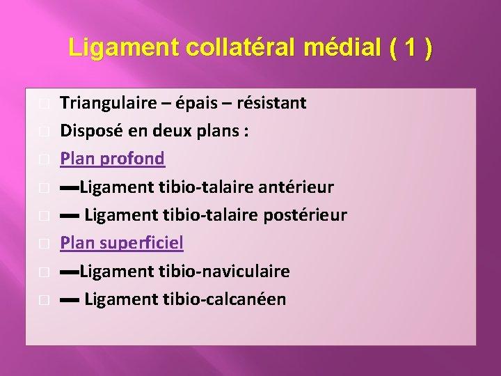 Ligament collatéral médial ( 1 ) � � � � Triangulaire – épais –