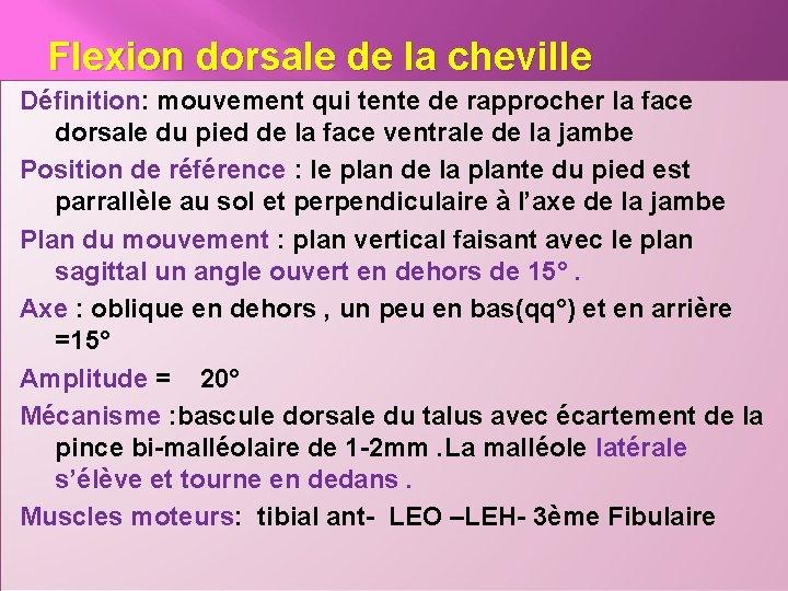 Flexion dorsale de la cheville Définition: mouvement qui tente de rapprocher la face dorsale