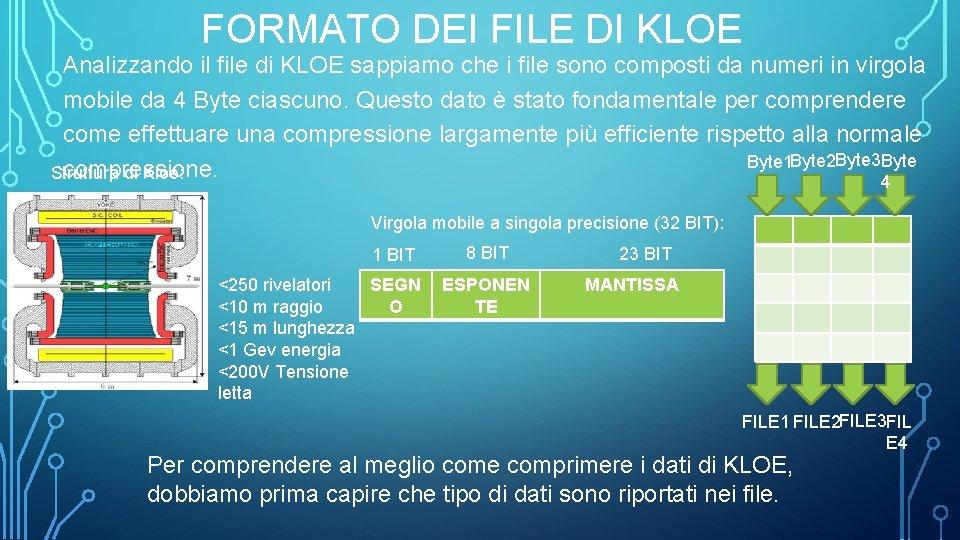 FORMATO DEI FILE DI KLOE Analizzando il file di KLOE sappiamo che i file