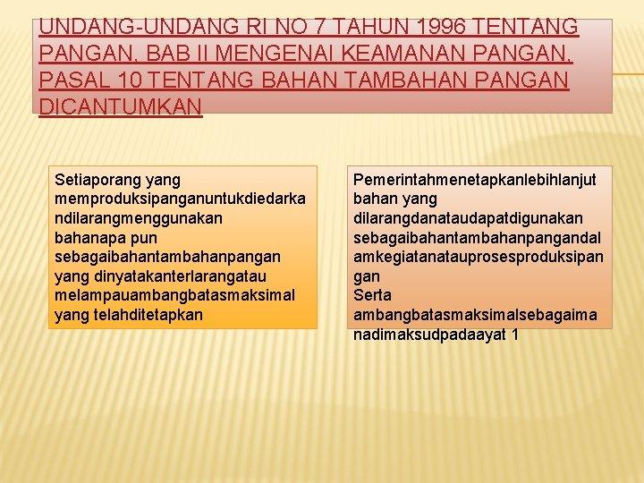 UNDANG-UNDANG RI NO 7 TAHUN 1996 TENTANG PANGAN, BAB II MENGENAI KEAMANAN PANGAN, PASAL