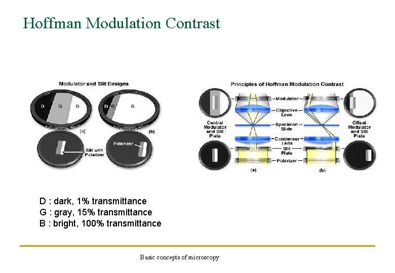 Hoffman Modulation Contrast D : dark, 1% transmittance G : gray, 15% transmittance B