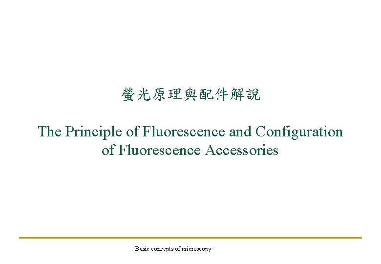 螢光原理與配件解說 The Principle of Fluorescence and Configuration of Fluorescence Accessories Basic concepts of microscopy