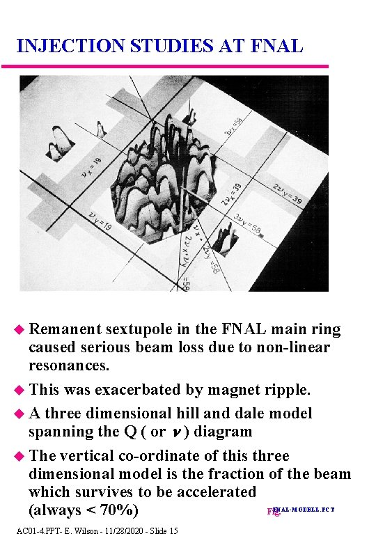 INJECTION STUDIES AT FNAL Remanent sextupole in the FNAL main ring caused serious beam