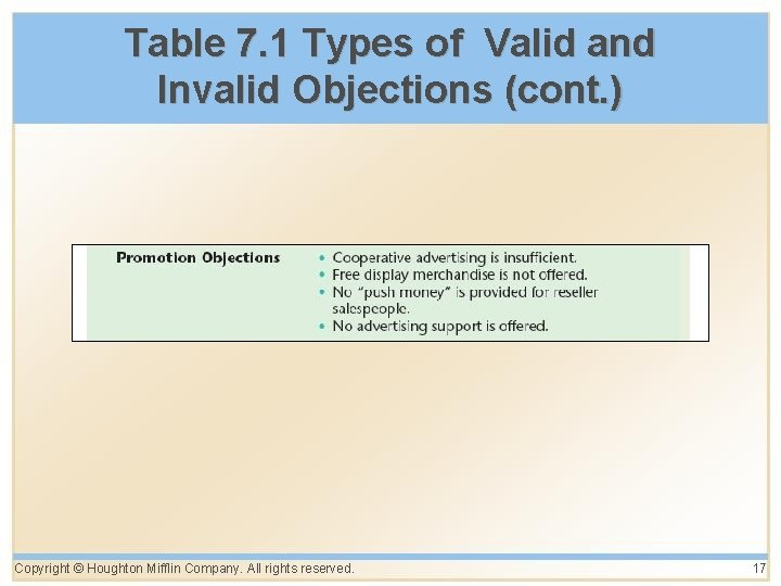 Table 7. 1 Types of Valid and Invalid Objections (cont. ) Copyright © Houghton