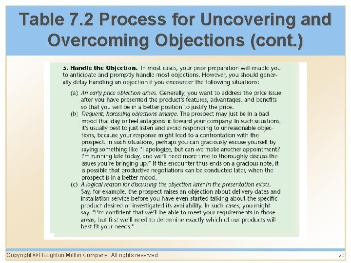 Table 7. 2 Process for Uncovering and Overcoming Objections (cont. ) Copyright © Houghton
