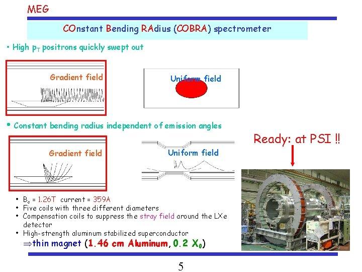 MEG COnstant Bending RAdius (COBRA) spectrometer • High p. T positrons quickly swept out