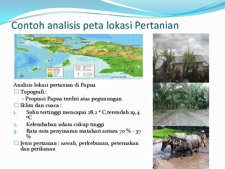 Contoh analisis peta lokasi Pertanian Analisis lokasi pertanian di Papua � Topografi : -
