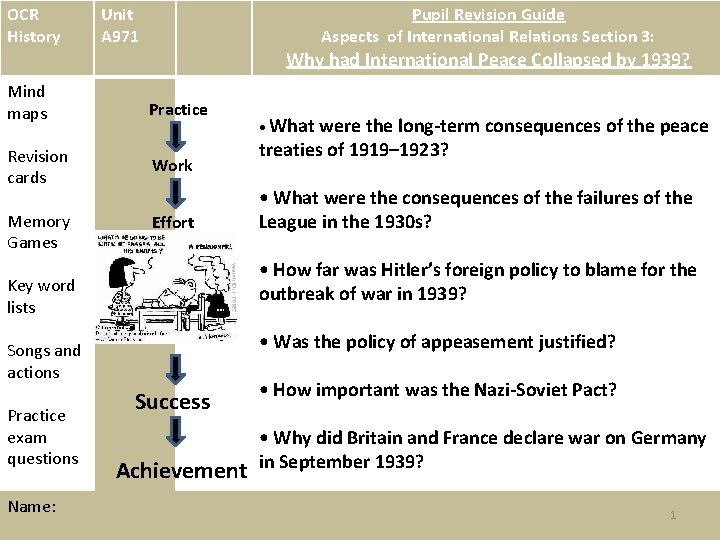 OCR History Unit A 971 Pupil Revision Guide Aspects of International Relations Section 3: