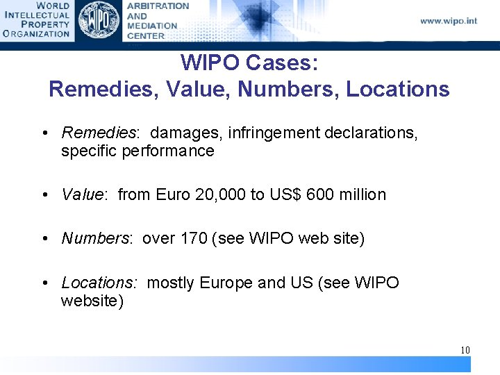WIPO Cases: Remedies, Value, Numbers, Locations • Remedies: damages, infringement declarations, specific performance •