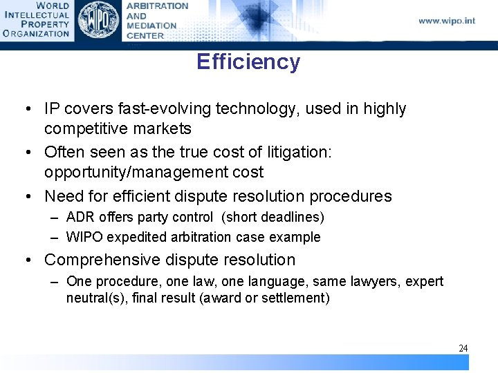 Efficiency • IP covers fast-evolving technology, used in highly competitive markets • Often seen