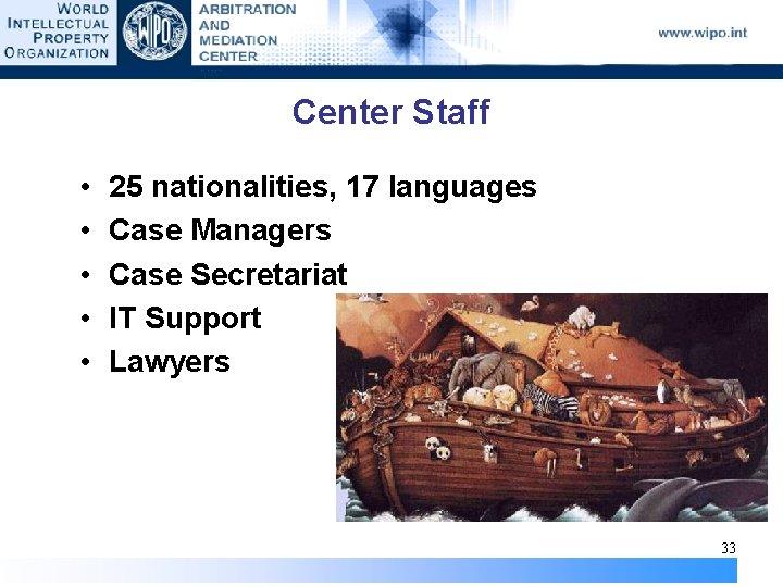 Center Staff • • • 25 nationalities, 17 languages Case Managers Case Secretariat IT