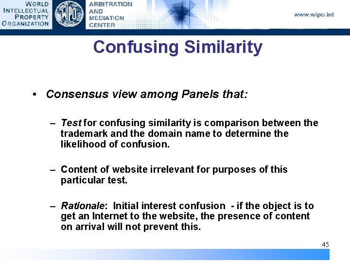 Confusing Similarity • Consensus view among Panels that: – Test for confusing similarity is