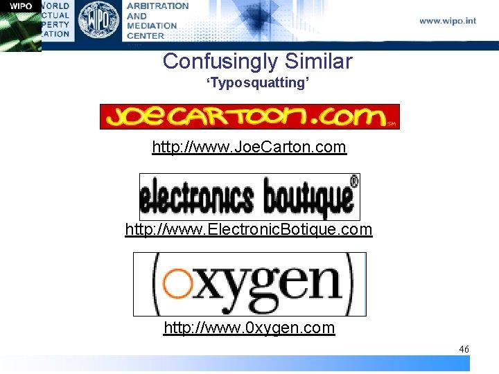 Confusingly Similar 'Typosquatting' http: //www. Joe. Carton. com http: //www. Electronic. Botique. com http: