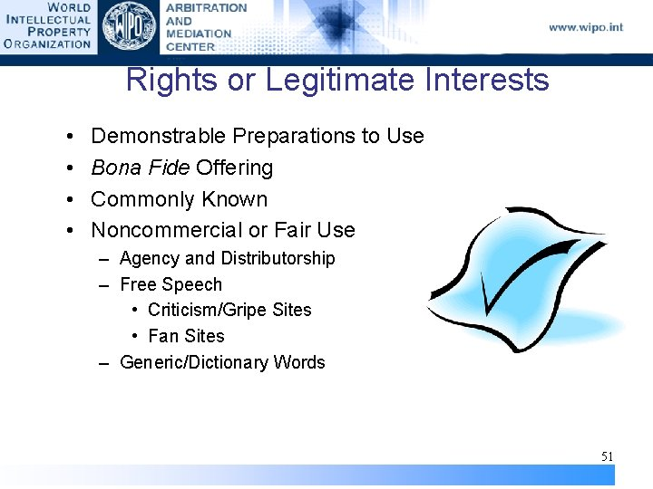 Rights or Legitimate Interests • • Demonstrable Preparations to Use Bona Fide Offering Commonly