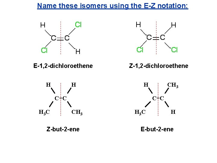 Name these isomers using the E-Z notation: E-1, 2 -dichloroethene H H Z-1, 2