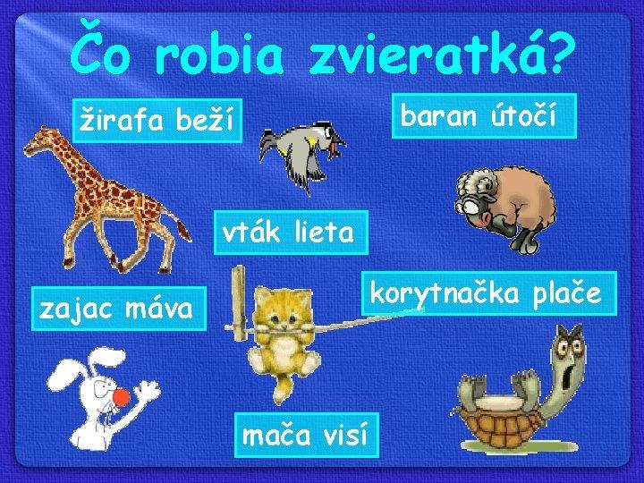 Čo robia zvieratká? baran útočí žirafa beží vták lieta korytnačka plače zajac máva mača