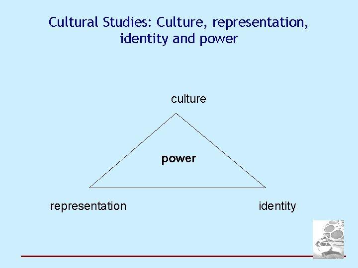 Cultural Studies: Culture, representation, identity and power culture power representation identity