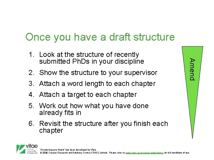 Once you have a draft structure 2. Show the structure to your supervisor 3.