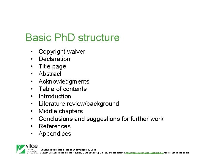 Basic Ph. D structure • • • Copyright waiver Declaration Title page Abstract Acknowledgments