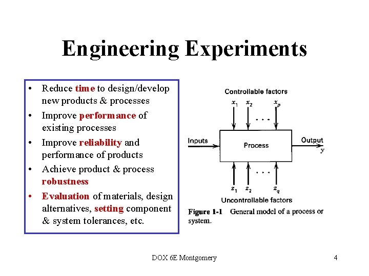 Engineering Experiments • Reduce time to design/develop new products & processes • Improve performance