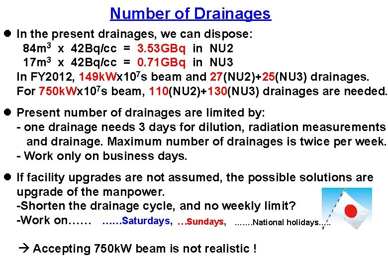 Number of Drainages l In the present drainages, we can dispose: 84 m 3