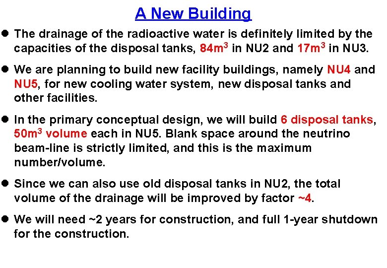A New Building l The drainage of the radioactive water is definitely limited by