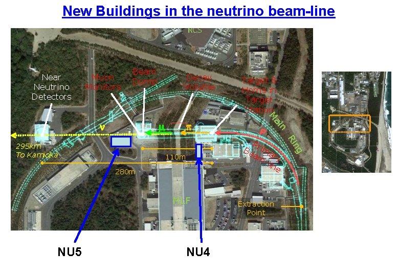 New Buildings in the neutrino beam-line RCS Near Neutrino Detectors Muon Monitors Beam Dump