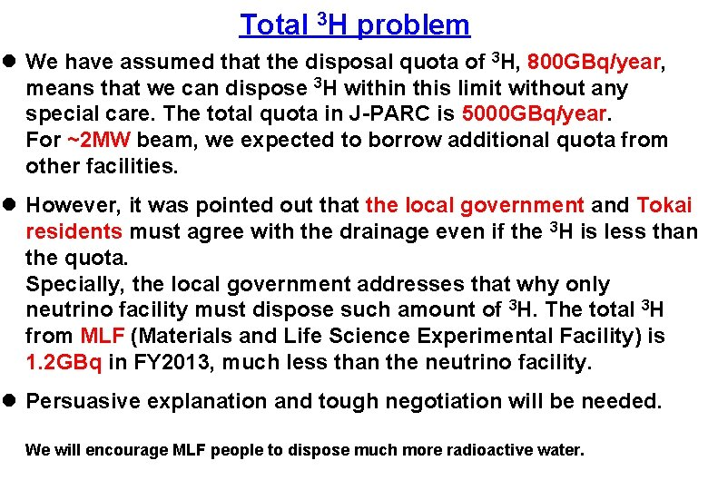 Total 3 H problem l We have assumed that the disposal quota of 3