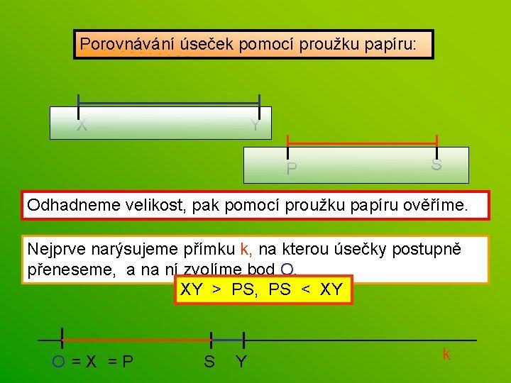 Porovnávání úseček pomocí proužku papíru: X Y P S Odhadneme velikost, pak pomocí proužku