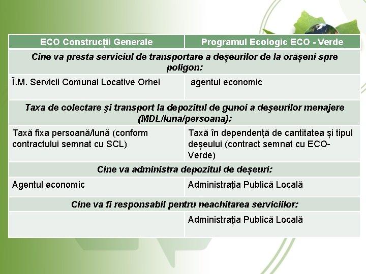 ECO Construcții Generale Programul Ecologic ECO - Verde Cine va presta serviciul de transportare