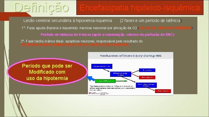Definição Encefalopatia hipóxico-isquêmica Lesão cerebral secundária à hipoxemia-isquemia (2 fases e um período de