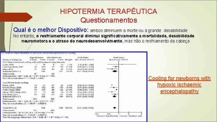HIPOTERMIA TERAPÊUTICA Questionamentos Qual é o melhor Dispositivo: ambos diminuem a morte ou a
