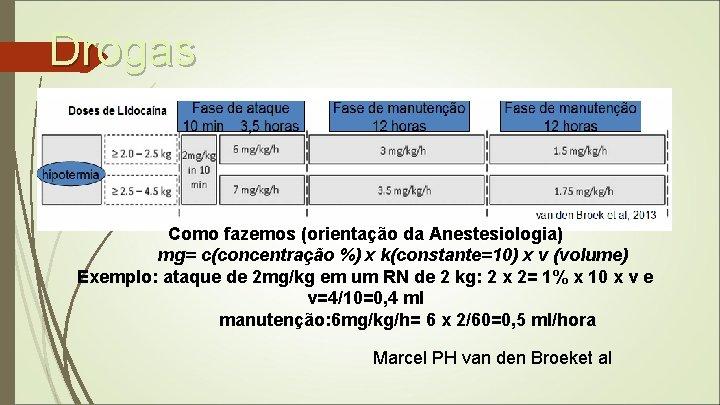 Drogas Como fazemos (orientação da Anestesiologia) mg= c(concentração %) x k(constante=10) x v (volume)