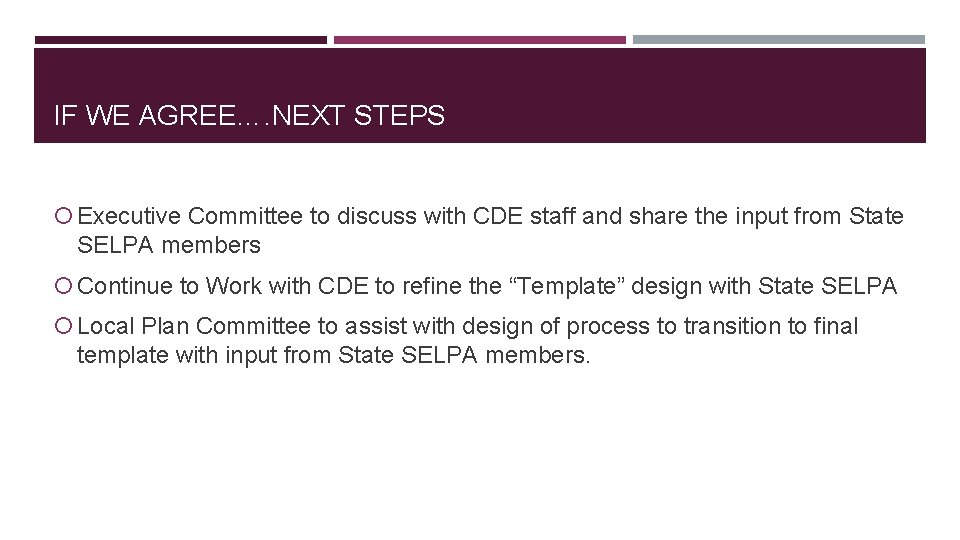 IF WE AGREE…. NEXT STEPS Executive Committee to discuss with CDE staff and share