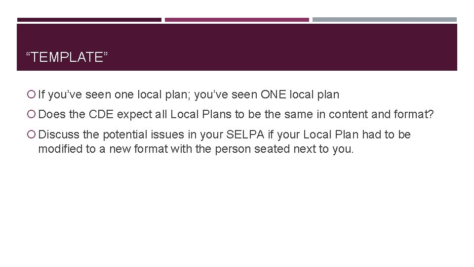 """""""TEMPLATE"""" If you've seen one local plan; you've seen ONE local plan Does the"""