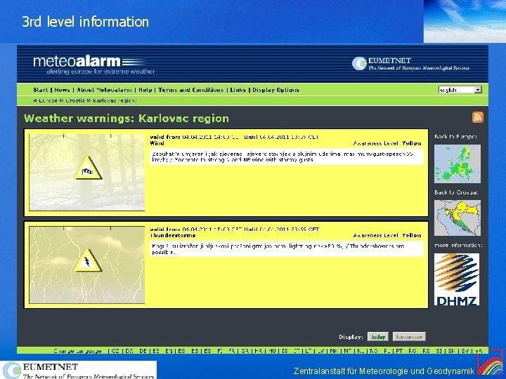 3 rd level information Zentralanstalt für Meteorologie und Geodynamik