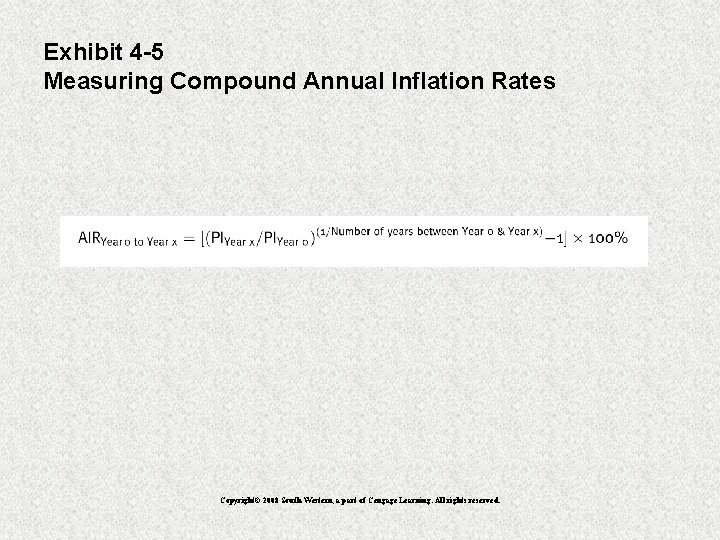 Exhibit 4 -5 Measuring Compound Annual Inflation Rates Copyright© 2008 South-Western, a part of