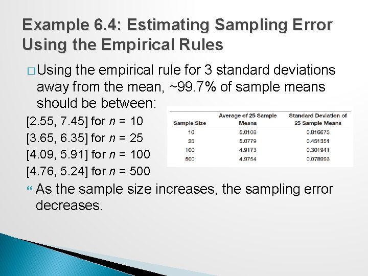 Example 6. 4: Estimating Sampling Error Using the Empirical Rules � Using the empirical
