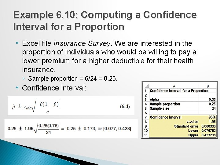 Example 6. 10: Computing a Confidence Interval for a Proportion Excel file Insurance Survey.