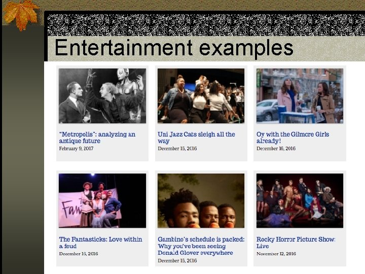 Entertainment examples
