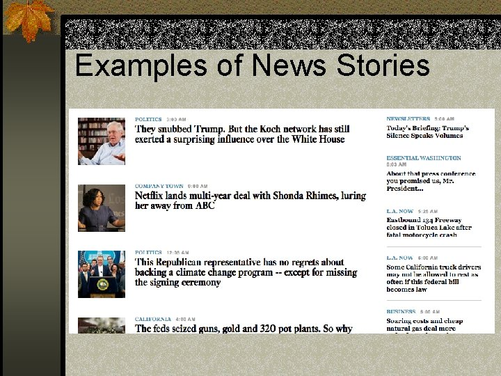 Examples of News Stories
